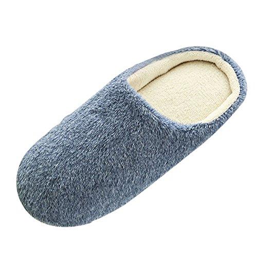 SAGUARO Erwachsene Plüsch Hausschuhe Winter Wärme Indoor Pantoffeln Home rutschfeste Weiche Leicht Baumwolle Slippers für Herren Damen, 43/44 EU=44/45 CN Blau