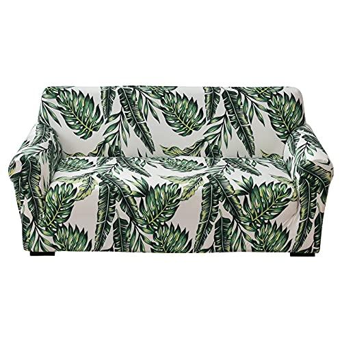 papasgix Fundas de Sofa 1/2/3/4 Plazas Ajustables Fundas elasticas para Sofas Cubierta para Sofa Antideslizante Lavable Decorativas Protector para Sofás para Perros Gatos(Hojas Verde,1 Plaza)