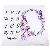 Starte Monthly Baby Milestone Blanket Photography Background for Infant Newborn Baby Swaddling Month Blanket 40'x40',Mermaid Tail Blanket