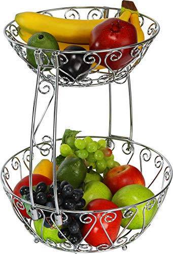 Simple Houseware 2-Tier Countertop Fruit Basket Bowl Storage, Chrome