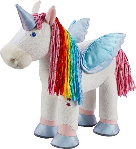 Haba 303274 - Einhorn Zauberfarben, Einhorn Plüschtier mit Schweif und Haaren aus Chenille, Puppenzubehör für Stoffpuppen; Spielzeug ab 18 Monaten