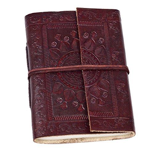 Fair Trade Indra Notizbuch Leder 110 x 155 mm mit Prägungen