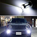 iJDMTOY (2) 6500K White 15-SMD LED Daytime Running Light Bulbs Compatible With 2015-2018 Jeep Renegade