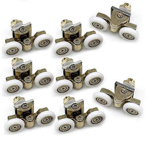 YuanQian Set mit 8 Doppelrollen für Duschkabinentür, Laufrollen, 23 mm Raddurchmesser, oben und unten, Badezimmer-Ersatzteile