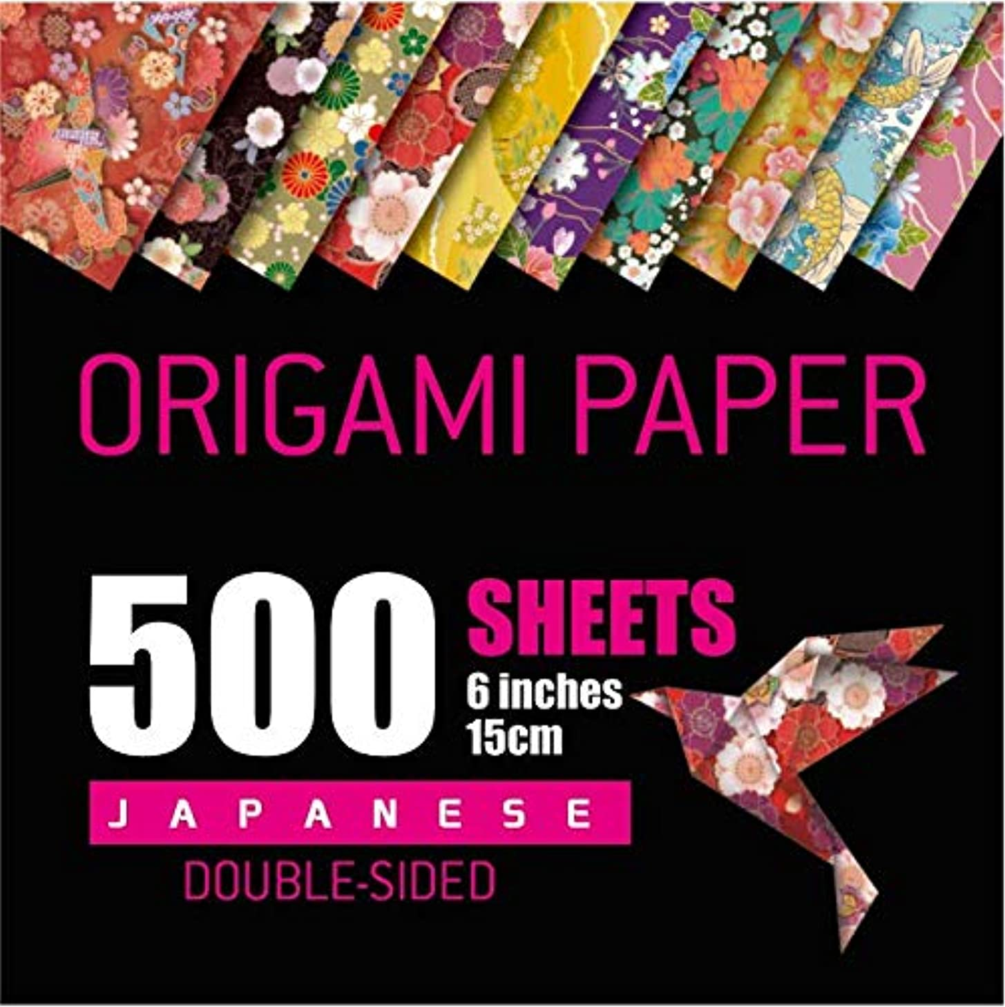 Japanese Washi Origami Paper 500 Sheets, 10 Vivid Colors, Double Sided Colors Make Colorful and Easy Origami,6 Inch Square Sheet, for Kids & Adults, Papers, Arts and Crafts Projects (E-Book Included)