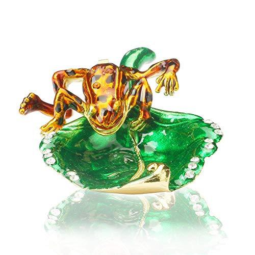 UIXIYIMG Frösche auf Blatt Schmuckschatulle Kristall Nieten Zinn Schmuck Display Klapphandbemalte Tierfigur Sammler Ringhalter, 9X3cm