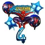 CHENZHAOL Bebé Globo 6 unids/Set Spider Man Homecoming Happy Birthday Party Globos 32 Pulgadas Número Ballon Inflable Globos de Helio Decoraciones Niños (Color : Multi)