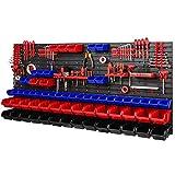 PAFEN Estantería de taller de 1728 x 780 mm – Estantería de pared con soporte para herramientas y 64 cajas apilables – placas de pared – Estantería de pared (rojo/azul/negro)