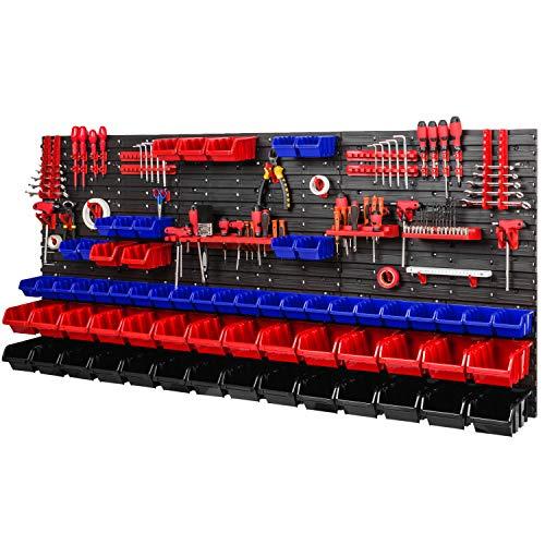Lagersystem Werkstattregal 1728 x 780 mm - Wandregal mit Werkzeughalterung und 64 Stapelboxen - Wandplatten Schüttenrega (Rot/Blau/Schwarz)