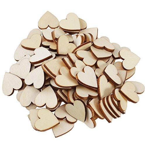 WINOMO Cuore Legno Fette Dischi per Bricolage da te Decorazioni - 100pcs