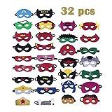 Xueliee 32 Stück Superhelden-Masken, Superhelden-Partyzubehör, Partyzubehör, Masken für Kinder...