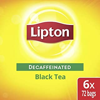 Lipton Decaffeinated Black Enveloped Hot Tea Bags Made with Tea Leaves Sourced from Rainforest Alliance Certified Farms, 72 count, Pack of 6