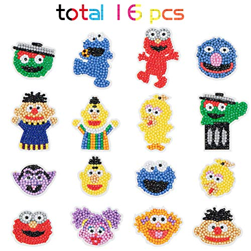 PANTIDE 16Pcs 5D DIY Diamond Painting Stickers Kits for Kids, Sesame Elmo Cookie Monster Theme Diamond Arts Craft Mosaic Stickers, Handmade Paint by Numbers Kits for Children and Adult Beginners