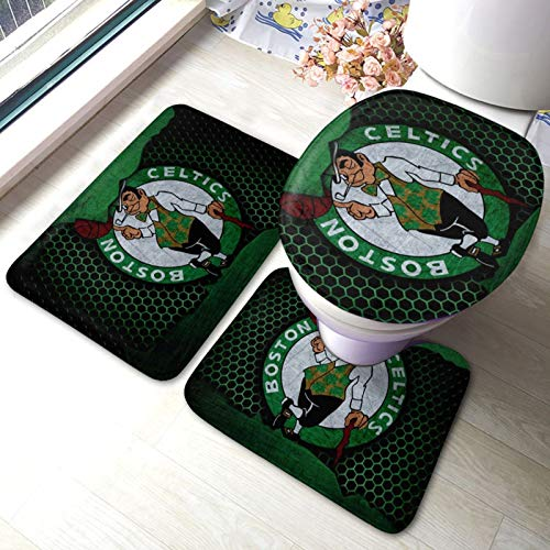 WEIQIQQ Celtics_Basketball Sports_Boston Non-Slip 3 Piece Bathroom Rug Set Bath Mat Set Contour Rugs Carpet U-Shape Contoured Toilet Lid Seat Cover Anti-Skid Mats for Tub, Shower