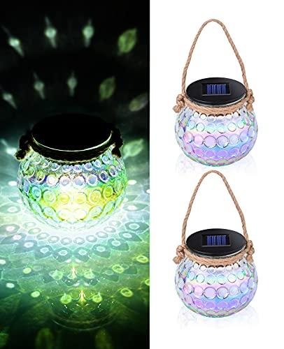 ShinePick Lanterna Solare in Vetro, 2 Pezzi Luci Solari Giardino Vintage Lampada, Auto Attivato/Disattivato, Sospensione IP65 Impermeabile Decorativa Esterno, per Terrazza, Esterni Interni, Matrimonio