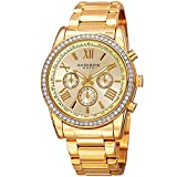 Father's Day Gift! - Akribos Multi-Function Swarovski Crystal Accented Steel Bracelet Watch - Three Hand Movement with Two Time Zones and Date Complication - Men's Ultimate Swiss Watch - AK868Gold