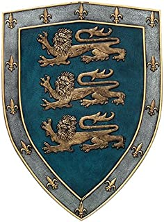 Medieval Times Three Lions Royal Coat of Arms Shield Wall Sculpture Decor