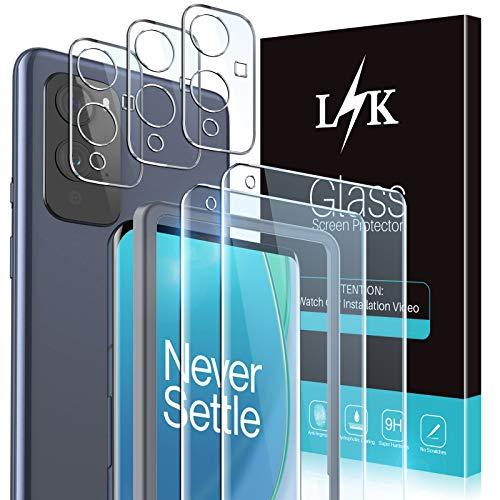 LϟK 5 Pack Protector de Pantalla para OnePlus 9 con 2 Pack Cristal Vidrio Templado y 3 Pack Protector de Lente de Cámara - Dureza 9H Sin Burbujas Doble Protección Kit Fácil instalación