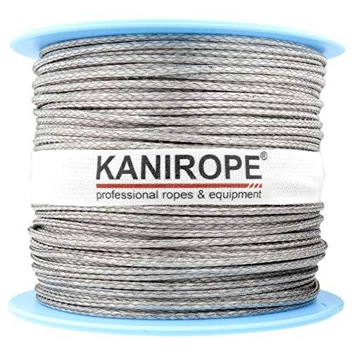 Kanirope® Dyneema Seil PRO 1mm 100m Silber 12-fach geflochten SK78 verstreckt beschichtet