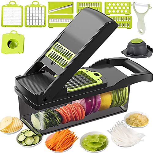 12 in 1 Vegetable Chopper, Heavy Duty Mandoline Slicer Potato Onion Chopper Food Chopper Veggie Chopper with Vegetable Peeler, Hand Guard and Container (Black)