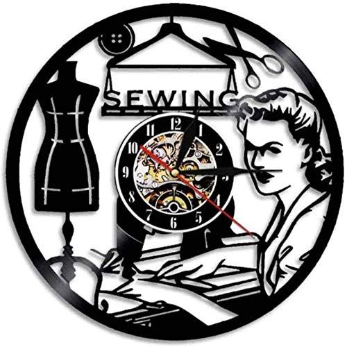 Reloj de Pared Máquina de Coser Vintage Reloj de Pared Reloj de Registro de Vinilo Regalo para Mujeres Tienda Hecha a Mano Decoración de Arte de Pared 30 × 30Cm