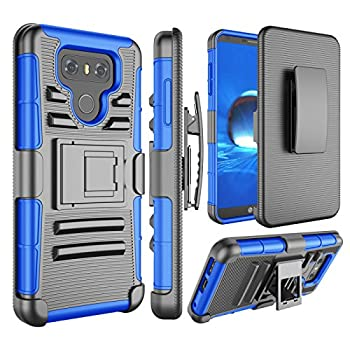 Jeylly Compatible with LG G6 Case Armor Shield Heavy Duty Full Body Dual Layer Hybrid Impact Protection Tough Rugged Belt Swivel Clip Holster with Kickstand Armor Defender Military Cases Cover Blue