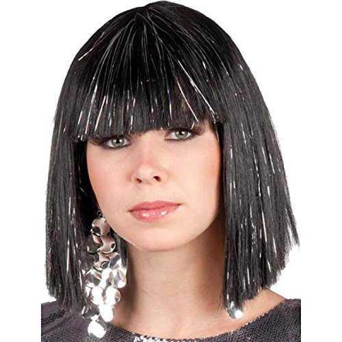 Générique- Perruque Star Gigi Lame, PE308/Noir, Noir, One Size