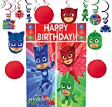 Party City PJ Masks Decorating Supplies, Include Honeycombs, Hanging Swirls and a Photo Booth Set with Props