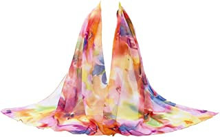 MedeShe Floral Printed Lightweight Chiffon Scarf Scarves Holiday Beach Cover Up