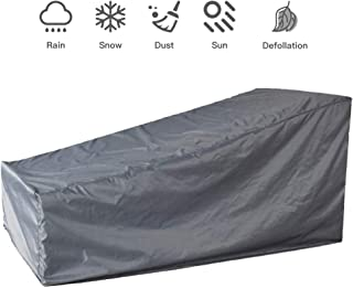 boyspringg Patio Chaise Lounge Cover Furniture Cover Waterproof Folding with Adjustable Strap and Buckle Strap Duty Weather Fade Resistant,82x30x16/31inches (1, Grey
