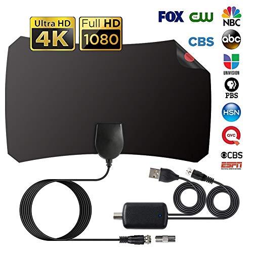 Antena Interior TV, Antena de TV de Rango Amplificado de 120 Millas Antena TDT con Amplificador de Señal y Cable Coaxial de 12.1 FT, Digital HDTV Antena Portatil para DVB-T