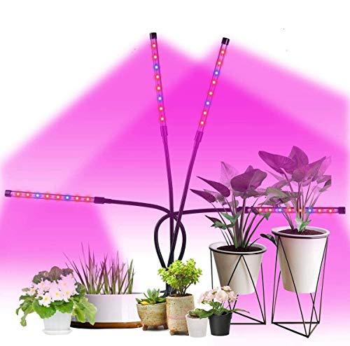 Pflanzenlampe LED 64W Pflanzenlicht Pflanzenleuchte Wachstumslampe Wachsen licht Grow Lampe Vollspektrum für Zimmerpflanzen mit Zeitschaltuhr, 360 Grad verstellbarer