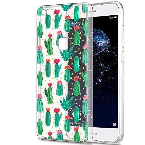 Eouine Funda Huawei P9 Lite, Cárcasa Silicona 3D Transparente con Dibujos Diseño Suave Gel TPU [Antigolpes] de Protector Bumper Case Cover Fundas para Movil Huawei P9 Lite 2017 (Cactus)