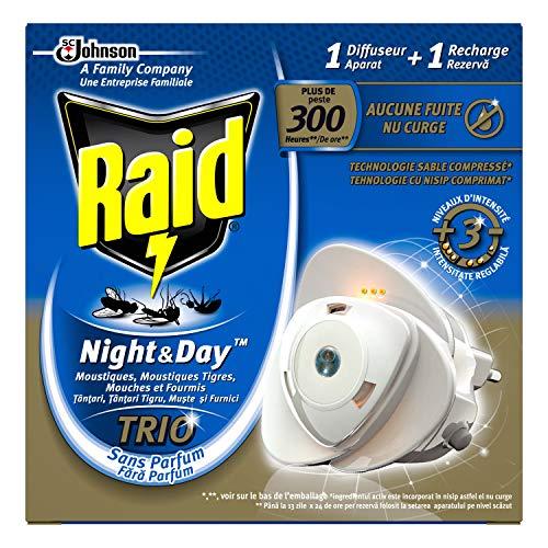 Raid Diffuseur Électrique à Sable Compressé, Anti-Moustiques, Moustiques Tigres, Mouches et Fourmis, 1 Recharge, Night & Day Trio, Insecticide, Lot de 4