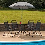 Flash Furniture Nantucket 6 Piece Black Patio Garden Set with Table, Umbrella and 4 Folding Chairs 14 Outdoor Retreat: Change your setting relax, entertain, eat, drink outdoors. Lightweight chairs transport easily. Get your outdoor living space from boring to appealing with this glass patio table set with water wave top and umbrella Product Measurements: Table Size: 31.25 inch W x 31.25 inch D x 28 inch H | Base Size: 17.75 inch W x 19 inch L | Umbrella Size: 59 inch W x 59 inch D x 80 inch H; 76 inch H Closed | Chair Size: 21.25 inch W x 25 inch D x 35.25 inch H | Back Size: 17 inch W x 22.25 inch H | Seat Size: 17.25 inch W x 16 inch D x 16 inch H Tempered glass table with black metal base, floor glides, clean with water based cleaner