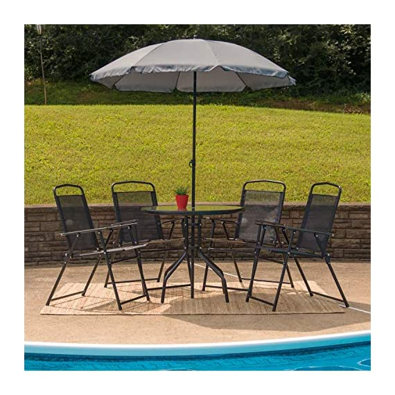 Flash Furniture Nantucket 6 Piece Black Patio Garden Set with Table, Umbrella and 4 Folding Chairs 2 Outdoor Retreat: Change your setting relax, entertain, eat, drink outdoors. Lightweight chairs transport easily. Get your outdoor living space from boring to appealing with this glass patio table set with water wave top and umbrella Product Measurements: Table Size: 31.25 inch W x 31.25 inch D x 28 inch H | Base Size: 17.75 inch W x 19 inch L | Umbrella Size: 59 inch W x 59 inch D x 80 inch H; 76 inch H Closed | Chair Size: 21.25 inch W x 25 inch D x 35.25 inch H | Back Size: 17 inch W x 22.25 inch H | Seat Size: 17.25 inch W x 16 inch D x 16 inch H Tempered glass table with black metal base, floor glides, clean with water based cleaner
