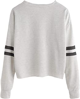 Winwinus Women Mini Crew Neck Long Sleeve Cropped Pullover Sweatshirt Top
