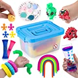 Sensory Fidget Toys 26 Pack, Stress Relief and Anti-Anxiety Toys for Kids and Adults, Pop Tube, Spiky Balls, Liquid Motion Timer, Marbel and Mesh, Mini Squeezes and More