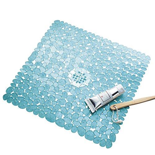 iDesign Pebblz Suction Non-Slip Square Bath Mat for Shower, Bathtub, Stall, 22' x 22', Blue