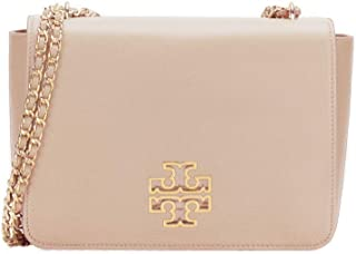 Tory Burch 56522 Tan Beige Gold Britten Shoulder Bag - (Light Oak)