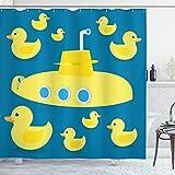 ABAKUHAUS Duschvorhang, Enten die im Meer Einem Gelben Unterseeboot Schwimmt Kinderfre&lich Klasischer Muster Druck, Blickdicht aus Stoff mit 12 Ringen Waschbar Langhaltig Hochwertig, 175 X 200 cm