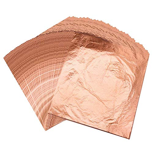 VGSEBA Gold Leaf Sheets, Pure Copper Leaf Sheet, Schabin Gold Foil Paper 100 Sheets 5.5' by 5.5' Metallic Leaf Sheet for Gilding, Painting Arts, Crafts Nails and Home Decoration