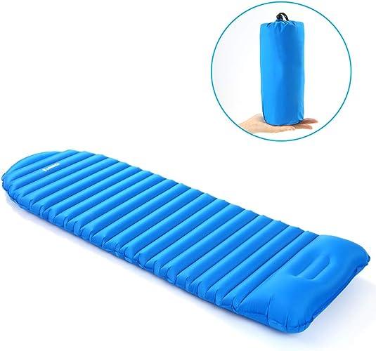 HEEGNPD Tapis de Sommeil Gonflable de Matelas de Camping de Matelas Gonflable de Matelas pneumatique épais de Plage de Pique-Nique avec l'oreiller intégré