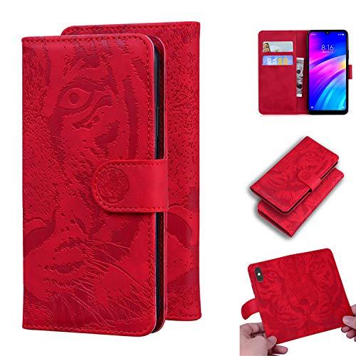 Snow Color Xiaomi Redmi 7 Hülle, Premium Leder Tasche Flip Wallet Case [Standfunktion] [Kartenfächern] PU-Leder Schutzhülle Brieftasche Handyhülle für Xiaomi Redmi 7 - COTX020699 Rot