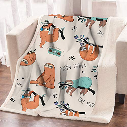 arightex Faultier Bett Sofa Weiche Überwurf Decke orange Sloths Aufhängen von Bäumen Cute WOODLAND Animal Sherpa Fleece Decke 60 x 80 Inches