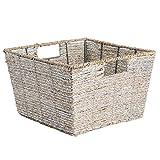 DII Decorative Seagrass with Metallic 12 x 12 x 7.5, Small Cube, Silver