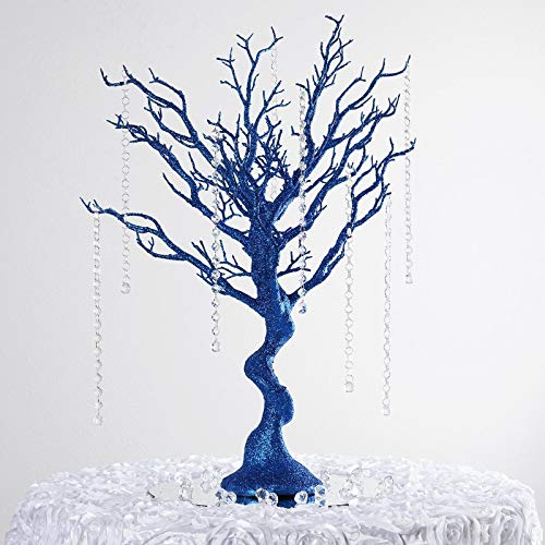 "Efavormart 30"" Glittered Manzanita Centerpiece Tree for Wedding Banquet Birthday Party Event Tabletop Decorations- Royal Blue"