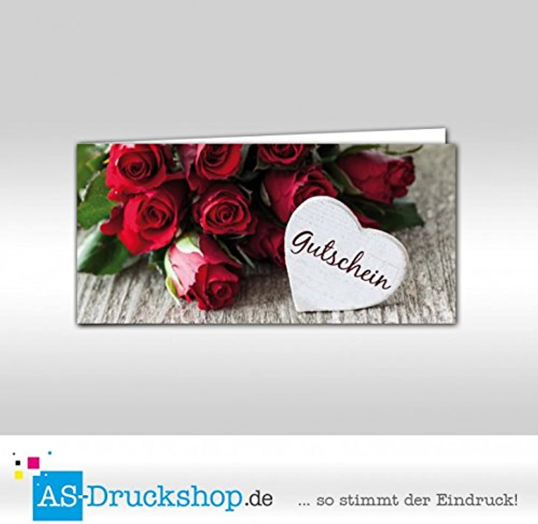 Gutschein Herz   Liebe   Valentinstag - Rote Rosan   100 Stück   DIN Lang B0794XQ9TJ   | Guter weltweiter Ruf
