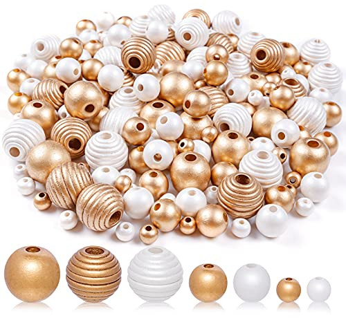 Wooden Beads in Bulk, 360PCS Cute Craft Beads for Garland, Farmhouse Decor and Jewelry Making