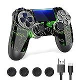 Zcity Controller PS4, PS4 Controller Wireless, Controller di Gioco Compatibile con la Console Playstion4, PS4 Bluetooth Gamepad Joystick con Cavo e Impugnature per Il Pollice (Green)